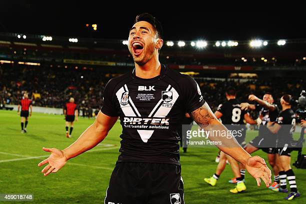 Shaun Johnson of New Zealand celebrates winning the Four Nations Final between the New Zealand Kiwis and the Australian Kangaroos at Westpac Stadium...