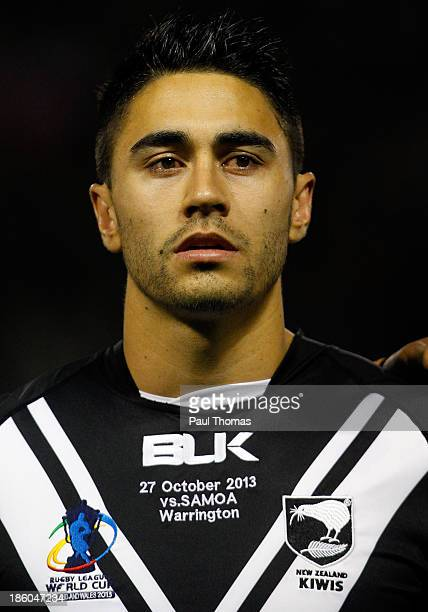 Shaun Johnson of New Zealand lines up before the Rugby League World Cup Group B match between New Zealand and Samoa at the Halliwell Jones Stadium on...