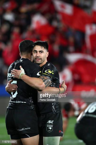 Shaun Johnson of the Kiwis after the win during the Oceania league test between the Kiwis and Mate Ma'a Tonga at Mt Smart Stadium on June 22, 2019 in...