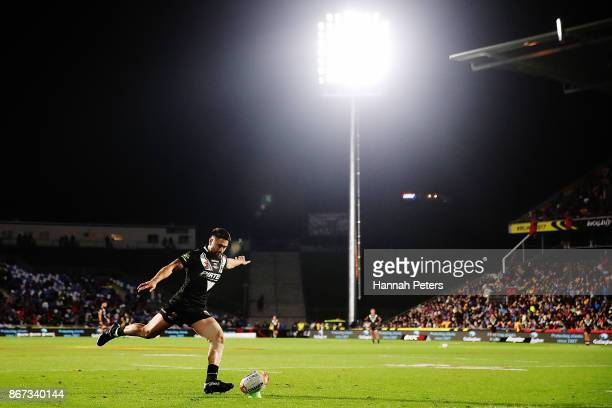 Shaun Johnson of the Kiwis kicks a conversion during the 2017 Rugby League World Cup match between the New Zealand Kiwis and Samoa at Mt Smart...