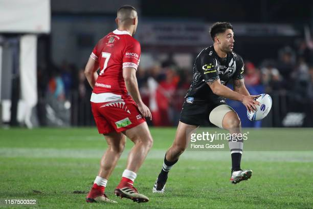 Shaun Johnson of the Kiwis looks to pass during the Oceania league test between the Kiwis and Mate Ma'a Tonga at Mt Smart Stadium on June 22, 2019 in...