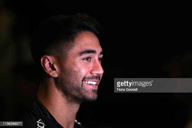 Shaun Johnson of the Kiwis speaks to media during a New Zealand Kiwis media opportunity at Skycity Convention Centre on June 17, 2019 in Auckland,...