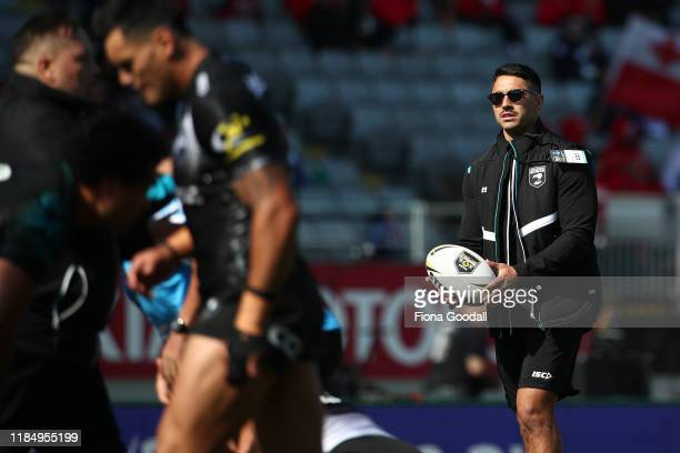 Shaun Johnson of the Kiwis watches on as the team warms up during the International Rugby League Test Match between the New Zealand Kiwis and the...