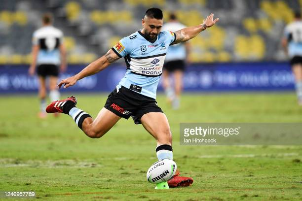 Shaun Johnson of the Sharks kicks for goal during the round four NRL match between the North Queensland Cowboys and the Cronulla Sharks at QCB...