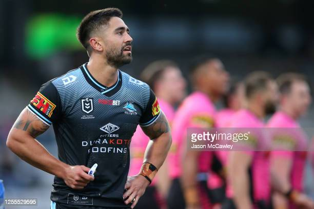 Shaun Johnson of the Sharks looks dejected after the Panthers scored a try during the round nine NRL match between the Cronulla Sharks and the...