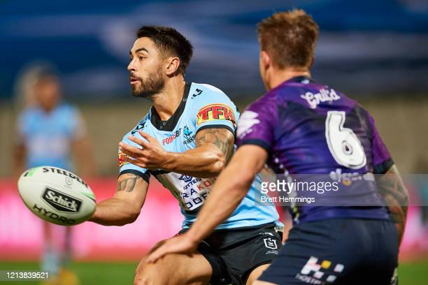 Shaun Johnson of the Sharks passes the ball during the round 2 NRL match between the Cronulla Sharks and the Melbourne Storm at Netstrata Jubilee...