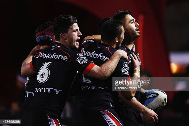 Shaun Johnson of the Warriors celebrates after scoring a try during the round 16 NRL match between the New Zealand Warriors and the Canberra Raiders...