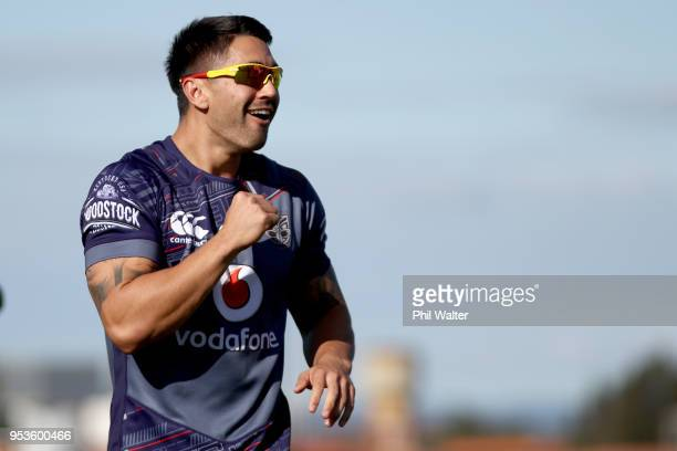 Shaun Johnson of the Warriors during a New Zealand Warriors training session on May 2, 2018 in Auckland, New Zealand.