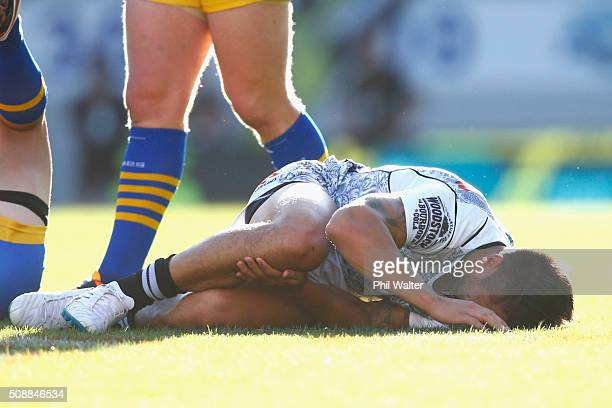 Shaun Johnson of the Warriors is injured during the final match between the New Zealand Warriors and the Parramatta Eels at the 2016 NRL Auckland...