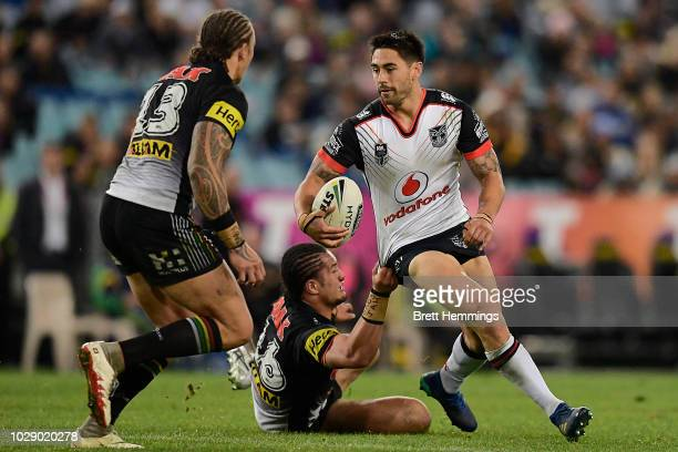 Shaun Johnson of the Warriors is tackled during the NRL Elimination Final match between the Penrith Panthers and the New Zealand Warriors at ANZ...