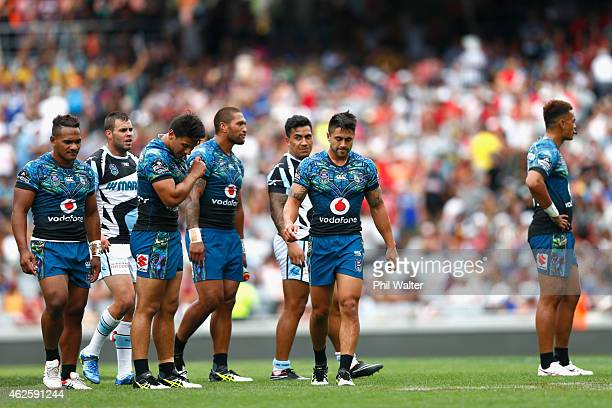 Shaun Johnson of the Warriors leaves the field following the match between the Warriors and the Sharks in the 2015 Auckland Nines at Eden Park on...