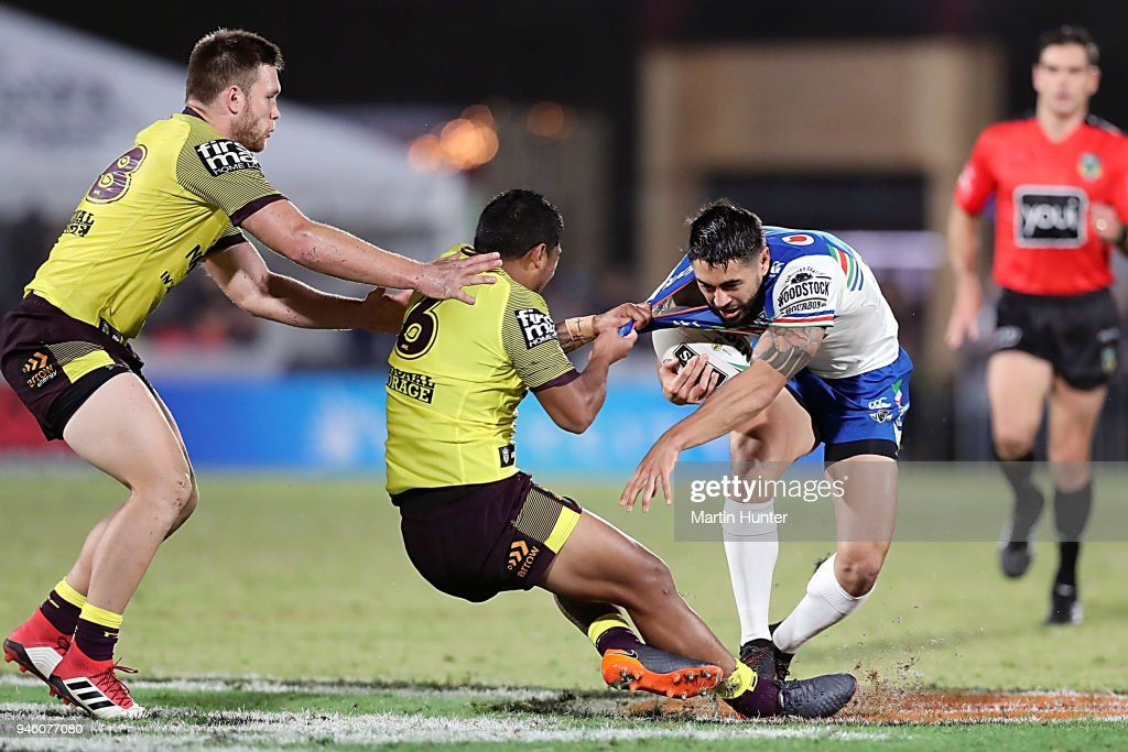 Shaun Johnson of the Warriors looks to take on the defence during the round six NRL match between the New Zealand Warriors and the Brisbane Broncos at Mt Smart Stadium on April 14, 2018 in Auckland, New Zealand.