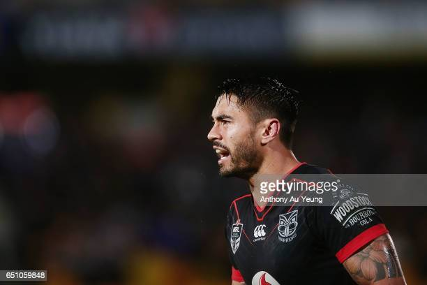 Shaun Johnson of the Warriors reacts during the round two NRL match between the New Zealand Warriors and the Melbourne Storm at Mt Smart Stadium on...