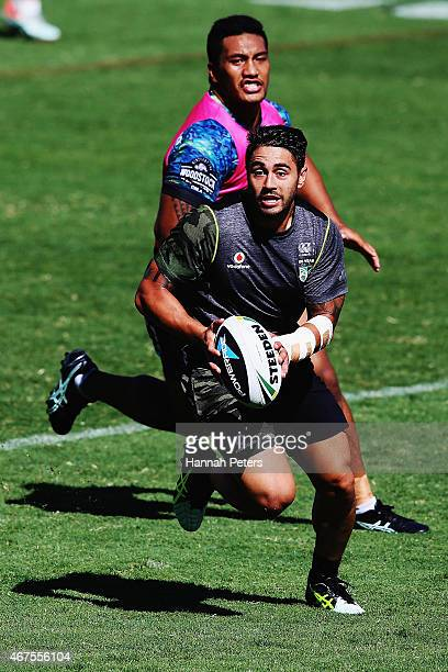 Shaun Johnson of the Warriors runs through drills during a New Zealand Warriors NRL training session at Mt Smart Stadium on March 26 2015 in Auckland...