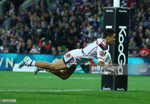 Shaun Johnson of the Warriors scores a try during the round seven NRL match between the Melbourne Storm and the New Zealand Warriors at AAMI Park on...