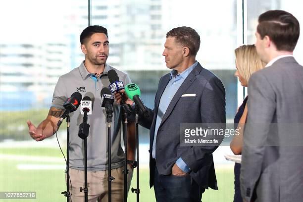 Shaun Johnson speaks to media during a Cronulla Sharks NRL media opportunity at Sharks Leagues Club on December 06 2018 in Sydney Australia