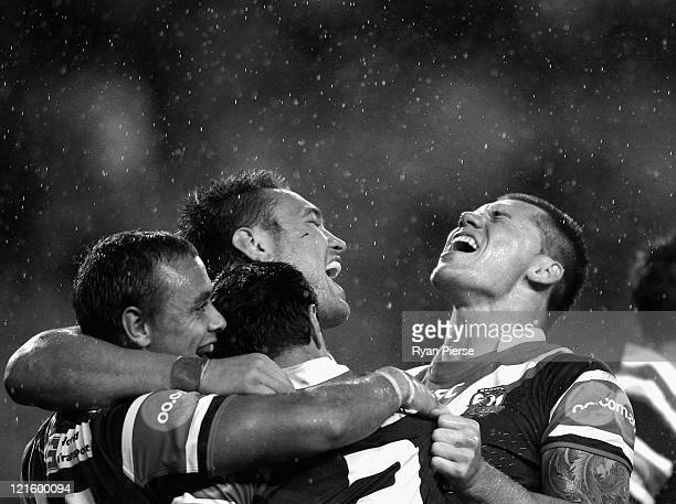 Shaun KennyDowall and Jared WaereaHargraves of the Roosters celebrates the winning try during the round 24 NRL match between the Sydney Roosters and...