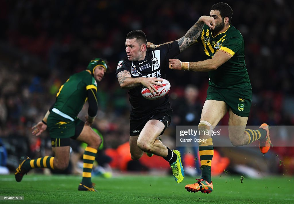 Shaun Kenny-Dowall of New Zealand is tackled by Greg Inglis of Australia during the Four Nations Final between New Zealand and Australia at Anfield on November 20, 2016 in Liverpool, United Kingdom.