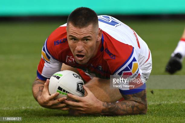 Shaun KennyDowall of the Knights catches the ball during the round three NRL match between the Canberra Raiders and the Newcastle Knights at GIO...