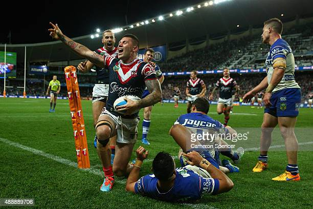 Shaun Kenny-Dowall of the Roosters celebrates scoring a try during the First NRL Semi Final match between the Sydney Roosters and the Canterbury...