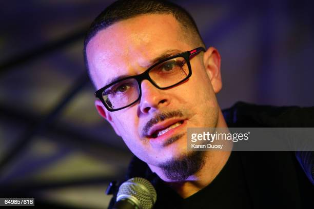 Shaun King a Black Lives Matter leader and writer for the New York Daily News speaks a rally at Westlake Center on March 8 2017 in Seattle Washington...