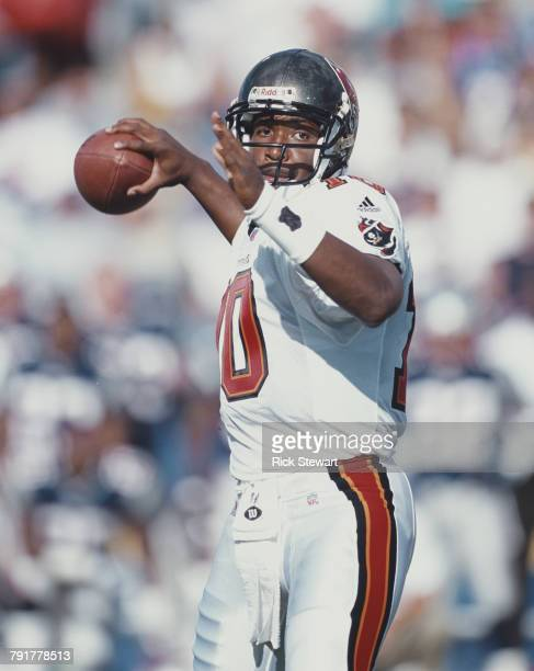 Shaun King Quarterback for the Tampa Bay Buccaneers prepares to pass the ball during the National Football League pre season game against the New...