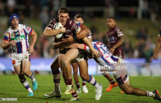 Shaun Lane of the Sea Eagles is tackled during the Round eight NRL match between the ManlyWarringah Sea Eagles and the Newcastle Knights at Lottoland...