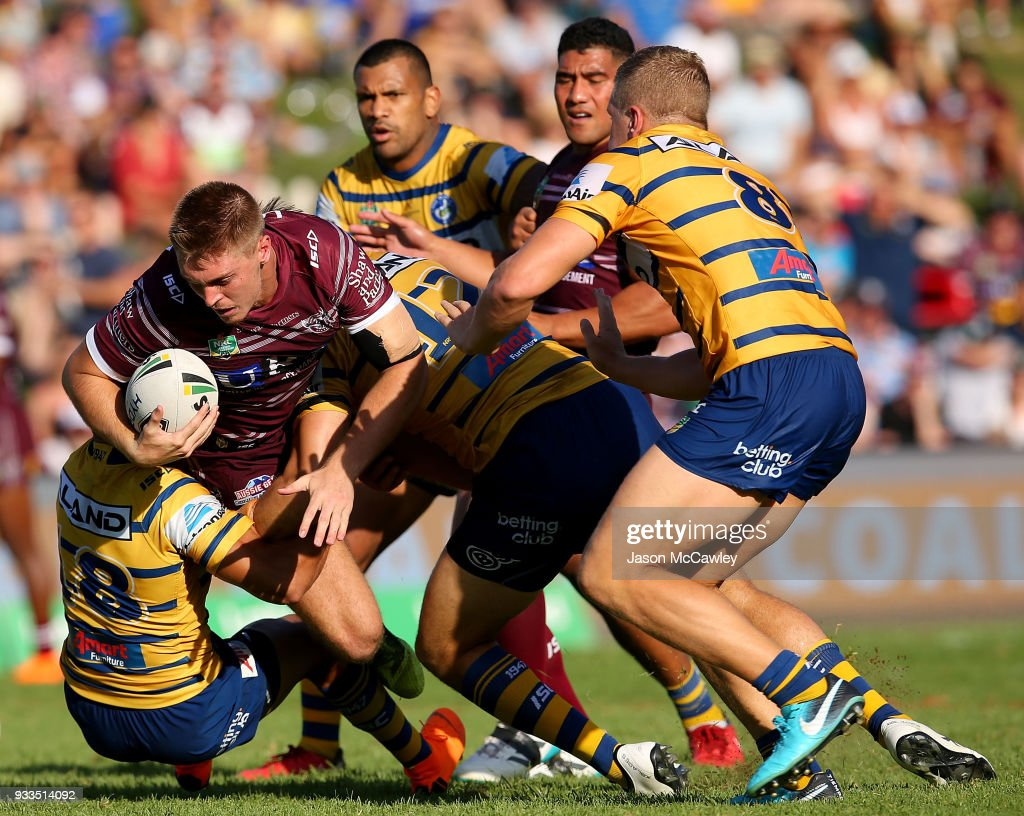 Shaun Lane of the Sea Eagles is tackled during the round two NRL match between the Manly Sea Eagles and the Parramatta Eels at Lottoland on March 18, 2018 in Sydney, Australia.