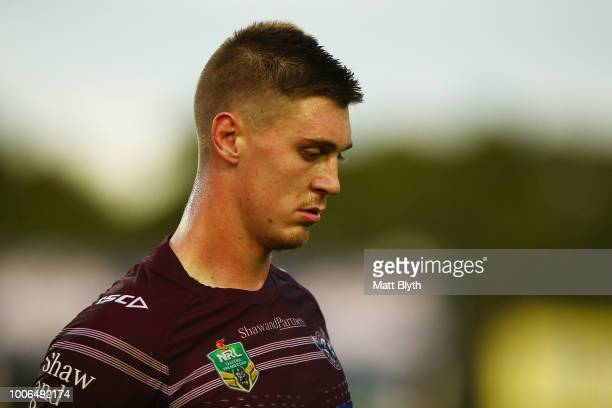 Shaun Lane of the Sea Eagles looks on following the round 20 NRL match between the Manly Sea Eagles and the Penrith Panthers at Lottoland on July 28...
