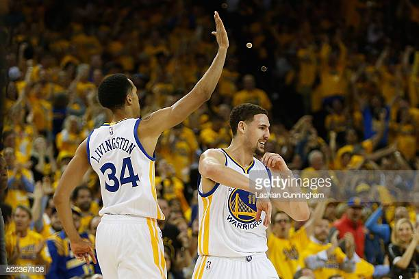 Shaun Livingston and Klay Thompson of the Golden State Warriors in the fourth quarter in Game Two of the Western Conference Quarterfinals during the...