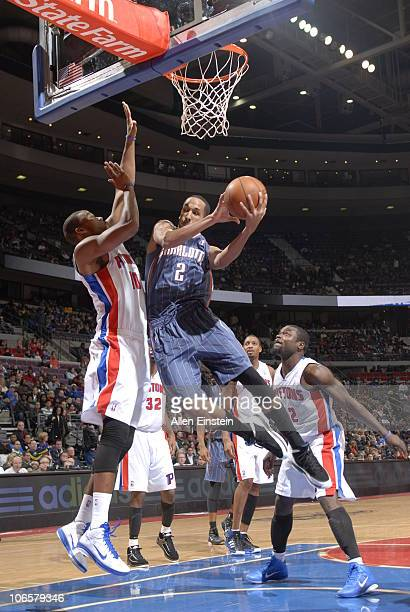Shaun Livingston of the Charlotte Bobcats goes up for a shot attempt against Greg Monroe of the Detroit Pistons in a game on November 5 2010 at The...