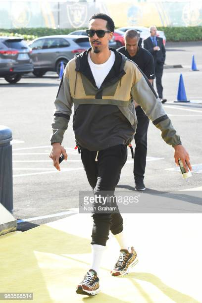 Shaun Livingston of the Golden State Warriors arrives before Game Two of the Western Conference Semifinals against the New Orleans Pelicans during...