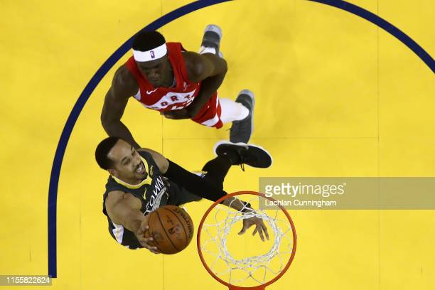 Shaun Livingston of the Golden State Warriors attempts a shot against Pascal Siakam of the Toronto Raptors during Game Six of the 2019 NBA Finals at...