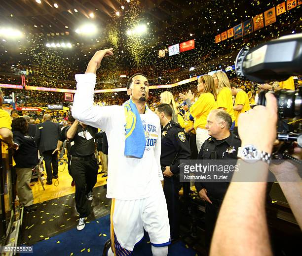 Shaun Livingston of the Golden State Warriors celebrates after a victory against the Cleveland Cavaliers in Game One of the 2016 NBA Finals on June 2...
