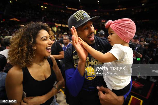 Shaun Livingston of the Golden State Warriors celebrates with family after defeating the Cleveland Cavaliers during Game Four of the 2018 NBA Finals...