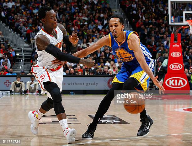 Shaun Livingston of the Golden State Warriors defends against Dennis Schroder of the Atlanta Hawks at Philips Arena on February 22 2016 in Atlanta...