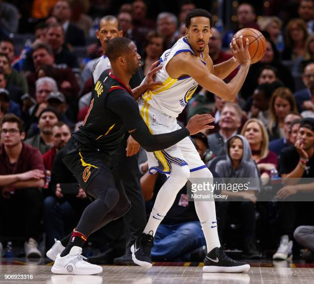 Shaun Livingston of the Golden State Warriors dribbles the ball against Dwyane Wade of the Cleveland Cavaliers at Quicken Loans Arena on January 15...