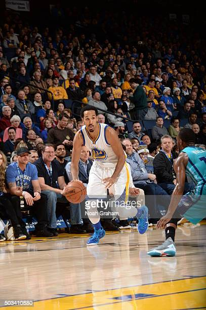 Shaun Livingston of the Golden State Warriors dribbles the ball against the Charlotte Hornets on January 4 2016 at Oracle Arena in Oakland California...