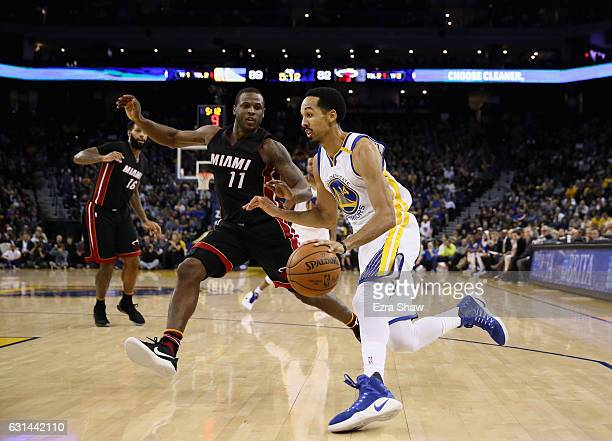 Shaun Livingston of the Golden State Warriors drives on Dion Waiters of the Miami Heat at ORACLE Arena on January 10 2017 in Oakland California NOTE...
