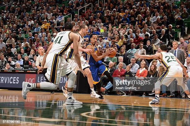 Shaun Livingston of the Golden State Warriors drives to the basket against the Utah Jazz on March 30 2016 at vivintSmartHome Arena in Salt Lake City...