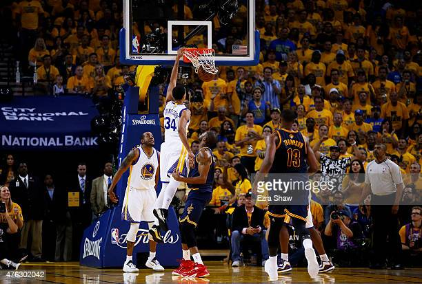 Shaun Livingston of the Golden State Warriors dunks against the Cleveland Cavaliers in the second quarter during Game Two of the 2015 NBA Finals at...