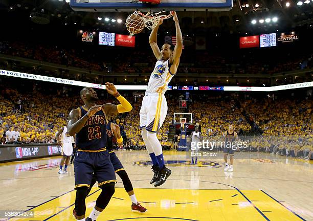 Shaun Livingston of the Golden State Warriors dunks the ball against the Cleveland Cavaliers in Game 2 of the 2016 NBA Finals at ORACLE Arena on June...