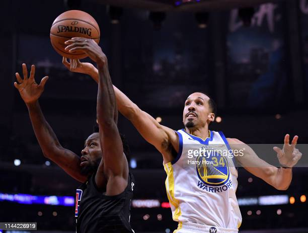 Shaun Livingston of the Golden State Warriors foulsPatrick Beverley of the LA Clippers for a rebound during a 113105 Warrior win in Game Four of...