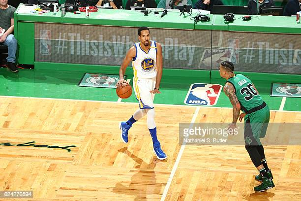 Shaun Livingston of the Golden State Warriors handles the ball against Gerald Green of the Boston Celtics during a game on November 18 2016 at TD...