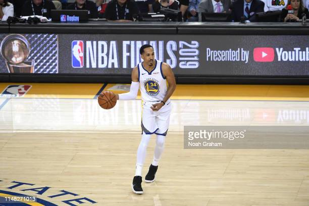 Shaun Livingston of the Golden State Warriors handles the ball against the Toronto Raptors during Game Three of the NBA Finals on June 5, 2019 at...