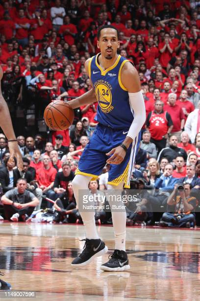 Shaun Livingston of the Golden State Warriors handles the ball against the Toronto Raptors during Game Five of the NBA Finals on June 10, 2019 at...