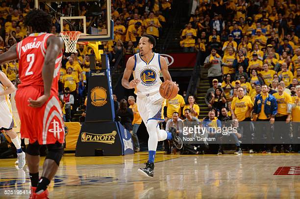 Shaun Livingston of the Golden State Warriors handles the ball against the Houston Rockets in Game Five of the Western Conference Quarterfinals...
