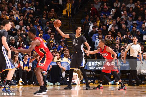 Shaun Livingston of the Golden State Warriors handles the ball against the New Orleans Pelicans on April 8 2017 at ORACLE Arena in Oakland California...