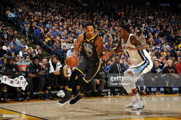 Shaun Livingston of the Golden State Warriors handles the ball against the Memphis Grizzlies on December 30 2017 at ORACLE Arena in Oakland...