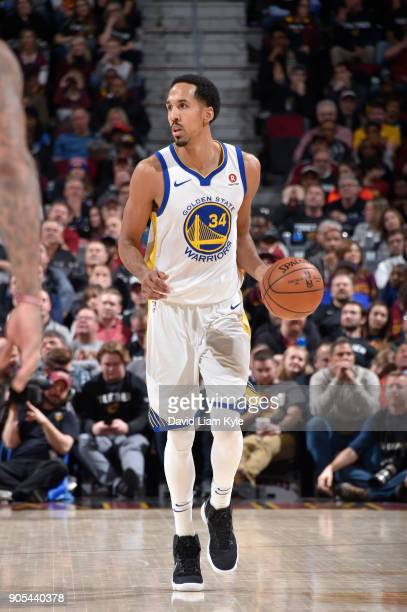 Shaun Livingston of the Golden State Warriors handles the ball against the Cleveland Cavaliers on January 15 2018 at Quicken Loans Arena in Cleveland...